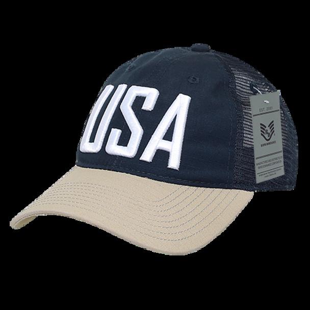 A13 - USA Cap 3-D Text - Ripstop Cotton Trucker Mesh - Navy/Khaki