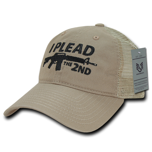 A05 - I Plead The 2nd Cap - Relaxed Cotton & Trucker Mesh - Khaki