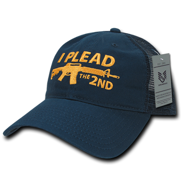 A05 - I Plead The 2nd Cap - Relaxed Cotton & Trucker Mesh - Navy/Gold