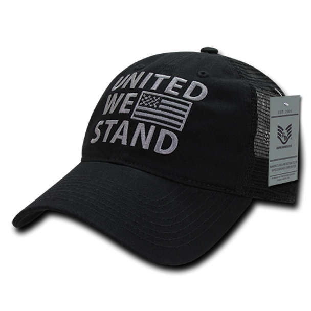 A05 - United We Stand USA Flag Cap - Relaxed Cotton & Trucker Mesh - Black