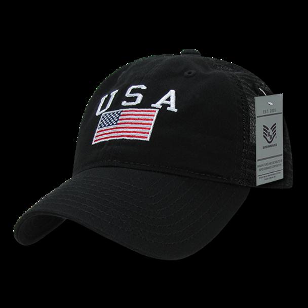 A05 - USA Flag Cap - Relaxed Cotton & Trucker Mesh - Black