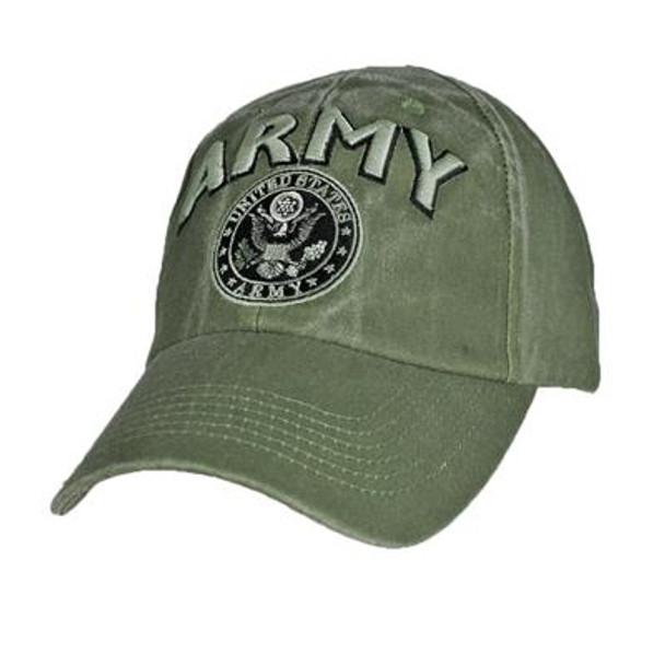 6563 - U.S. Army Emblem Cap 3-D Text - Cotton - Olive Drab