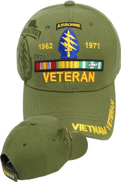 Vietnam Veteran Special Forces Airborne Shadow Cap - Olive Drab