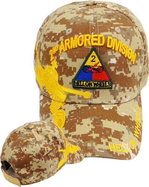 2nd Armored Division Caps - Hell on Wheels - Desert Digital Camouflage
