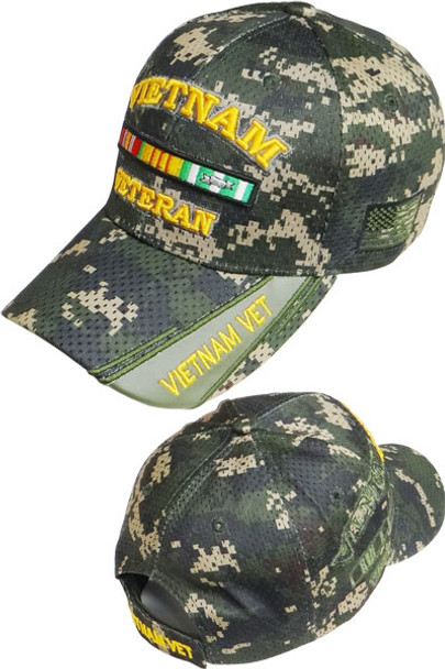 Vietnam Veteran Ribbons Cap - Air Mesh - Digital Woodland Camo