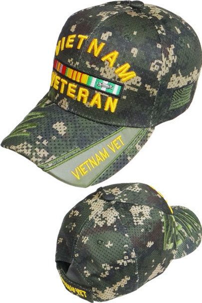 Vietnam Veteran Shadow Cap - Air Mesh - Digital Woodland Camo