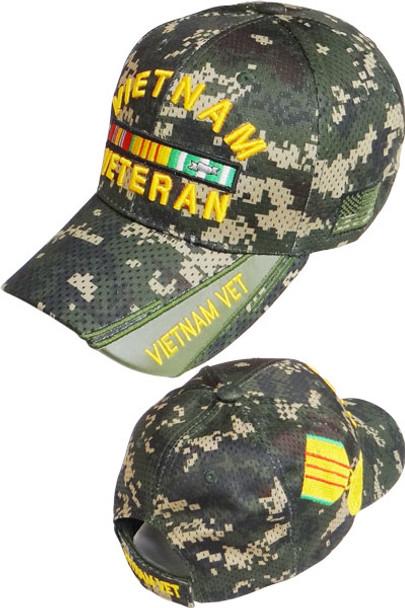 Vietnam Veteran Ribbons & Medal Cap- Air Mesh - Digital Woodland Camo