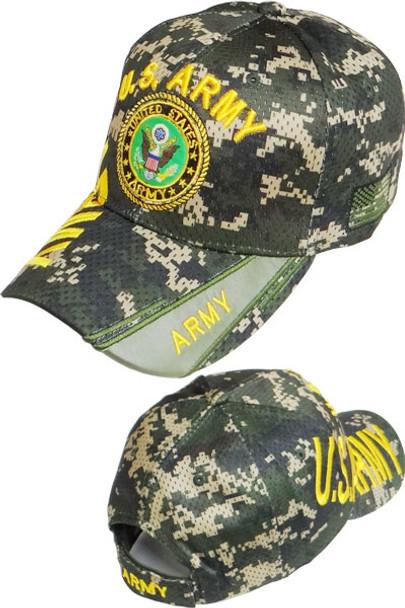 U.S. Army Emblem Cap - Air Mesh - Digital Woodland Camouflage