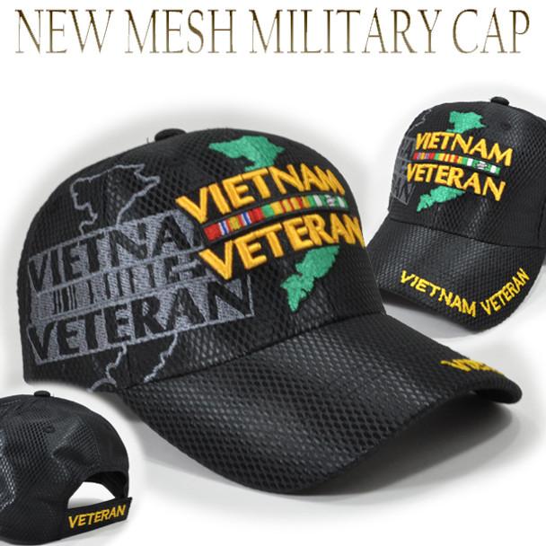 Vietnam Veteran Ribbons & Map Shadow Cap - Shiny Air Mesh - Black