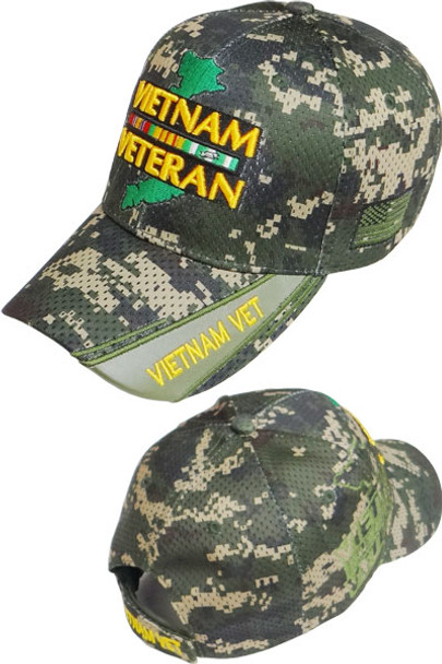 a81ca81c6af Vietnam Veteran Ribbons   Map Shadow Cap - Air Mesh - Digital Woodland Camo