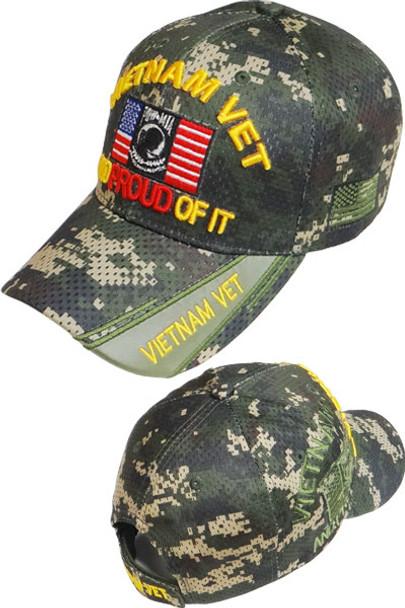Vietnam Veteran POW-MIA Shadow Cap - Air Mesh - Digital Woodland Camo