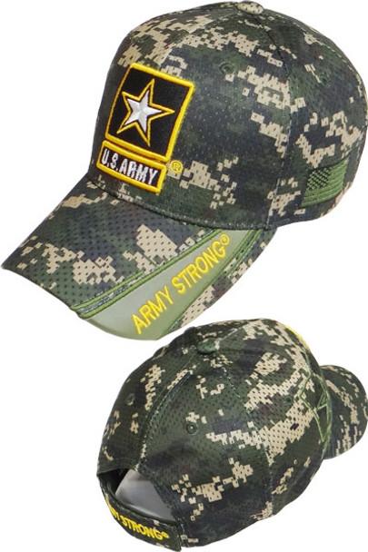 43844569fcb U.S. Army Strong Star Logo Cap - Air Mesh - Digital Woodland Camo ...