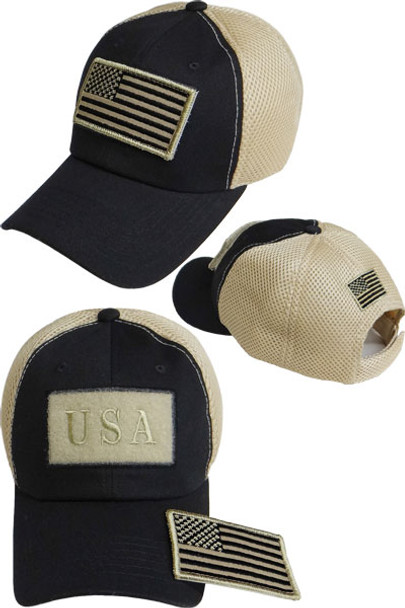 USA Flag Patch Cap - Soft Jersey Air Mesh - Black/Khaki