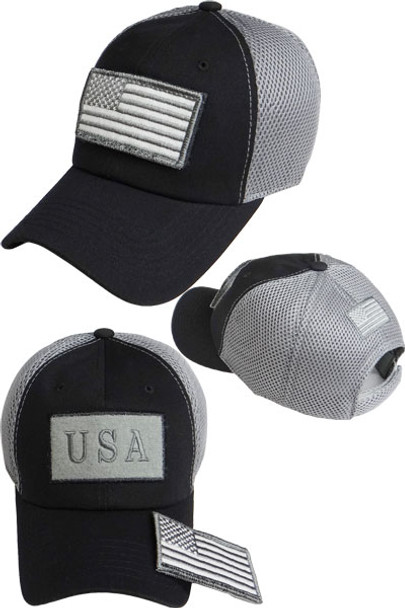 USA Flag Patch Cap - Soft Jersey Air Mesh - Black/Grey