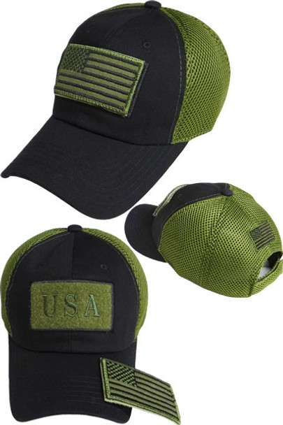 USA Flag Patch Cap - Soft Jersey Air Mesh - Black Olive ... 2b080923ad2