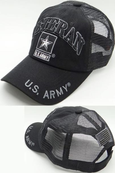 U.S. Army Veteran Cap - USA Flag Subdued - Cotton/Air Mesh - Black