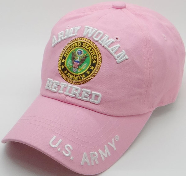36d46e74f41 U.S. Army Cap - Woman Retired - 100% Cotton - Light Pink ...