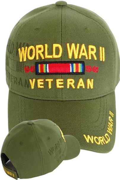 6e192e9134e World War II Veteran Cap - Victory Ribbon Shadow - Olive ...