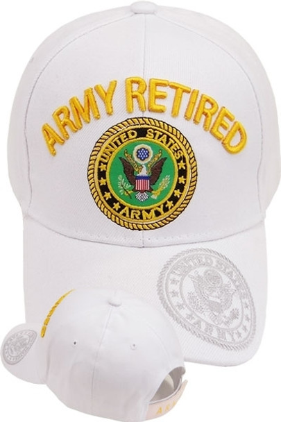 U.S. Army Retired Cap - Shadow Bill Seal  - White