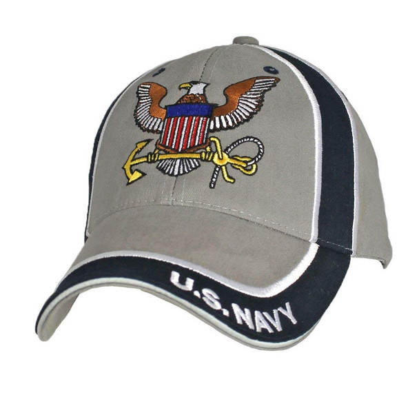 6569 - U.S. Navy Cap Insignia - Cotton - Grey/Navy
