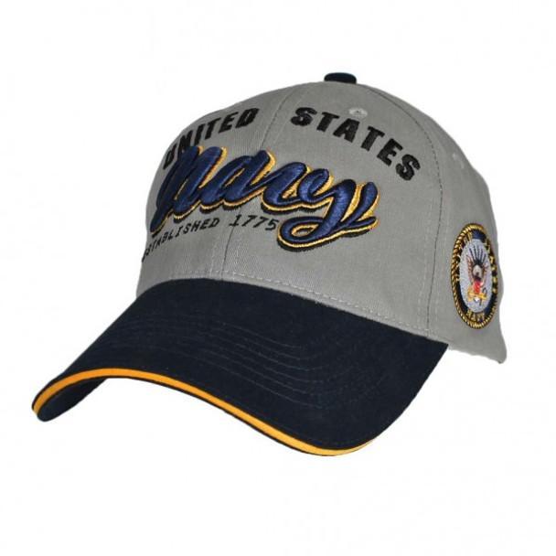 6595 - U.S. Navy Cap Established 1775 - Cotton - Grey/Navy