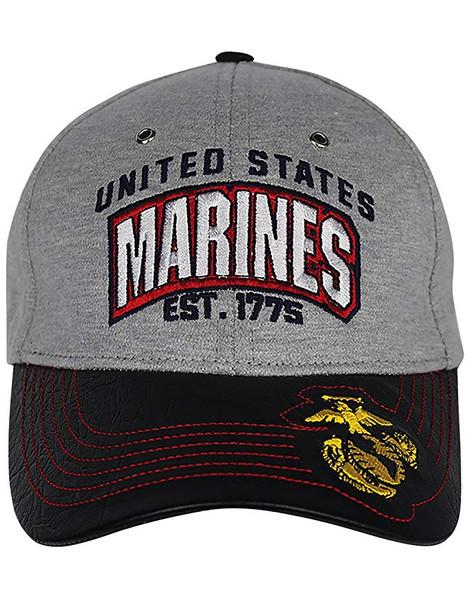 U.S. Marines Cap - Jersey Knit/Faux Leather Bill - Grey/Black