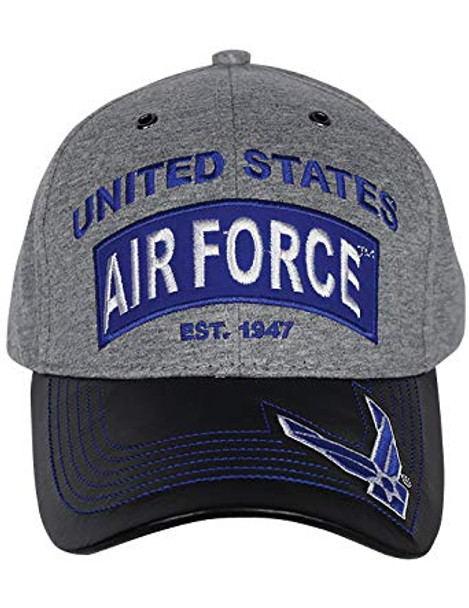 U.S. Air Force Cap - Jersey Knit Cotton/Faux Leather Bill - Grey/Black