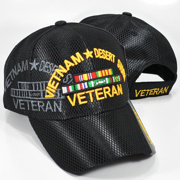 Vietnam Desert Storm Veteran Cap Mesh- Black