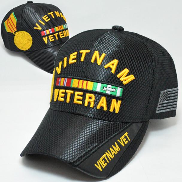 Vietnam Veteran Medal Cap Mesh - Black