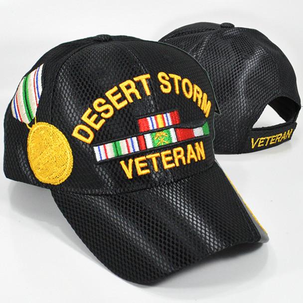 Desert Storm Veteran Cap with Medal and Ribbons - Mesh - Black