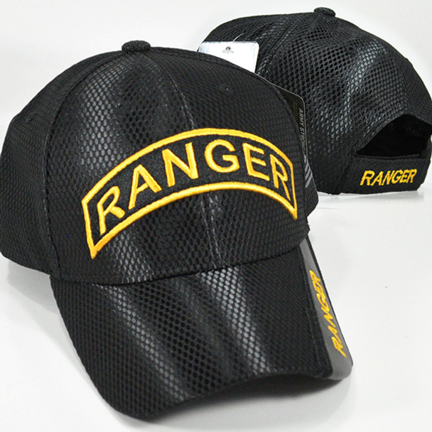 U.S. Army Ranger Cap - Mesh - Black