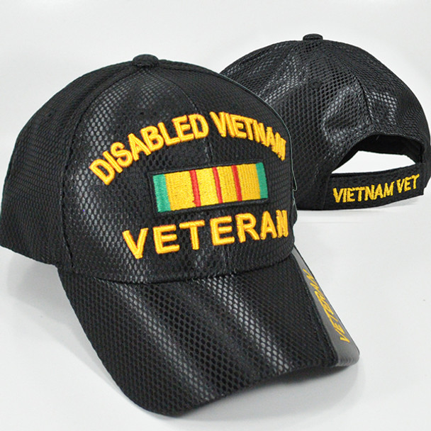 Disabled Vietnam Veteran Cap - Mesh - Black