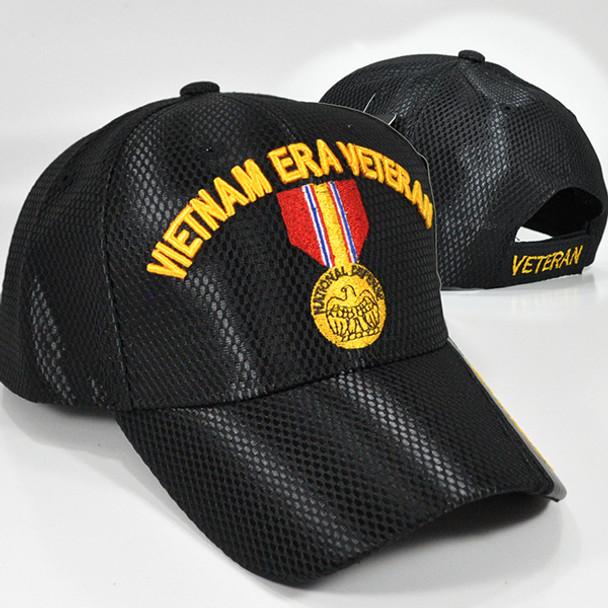 Vietnam Era Veteran Cap National Defense Medal - Mesh - Black
