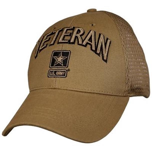 6846 - U.S. Army Veteran Cap - Cotton Air Mesh - Coyote Brown