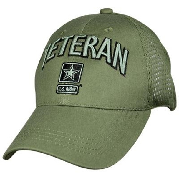 6847 - U.S. Army Veteran Cap - Cotton Air Mesh - OD Green