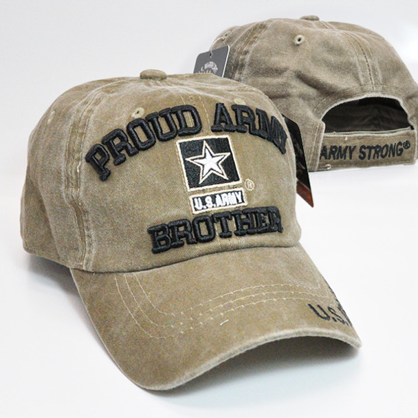 U.S. Army Cap Proud Army Brother - Washed Cotton - Khaki