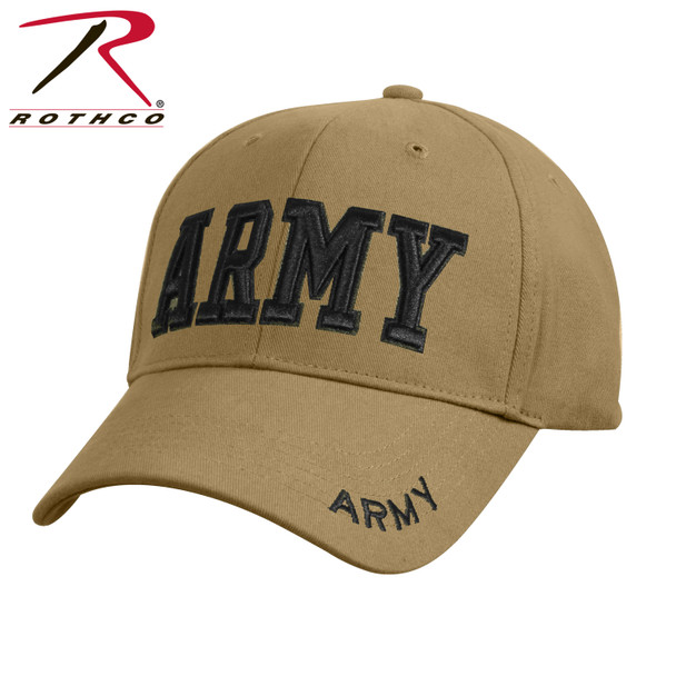 Rothco Deluxe Army Cap Embroidered Insignia Low Profile (Item # 8955) - Coyote Brown