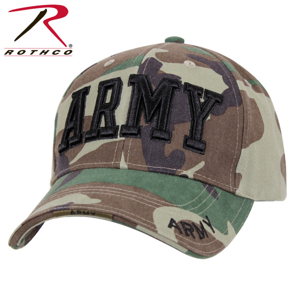 Rothco Deluxe Army Cap Embroidered Insignia Low Profile (Item #3908) - Woodland Camo