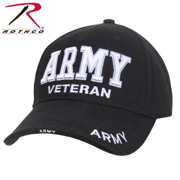 Rothco Deluxe Army Veteran Cap Embroidered Low Profile (Item #3951) - Black