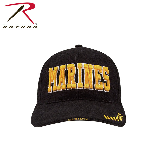 Rothco 9437 Deluxe Marines Cap Embroidered Low Profile Cotton Black