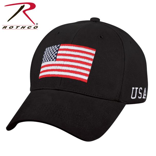 Rothco USA Flag Cap Low Profile Cotton (Item #4619) - Black