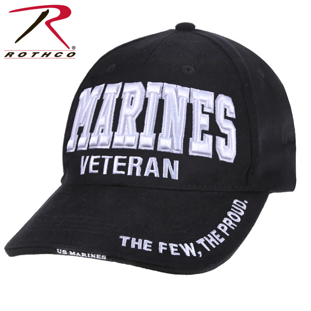 Rothco Deluxe Marines Veteran Cap Embroidered Low Profile (Item #3956) - Black