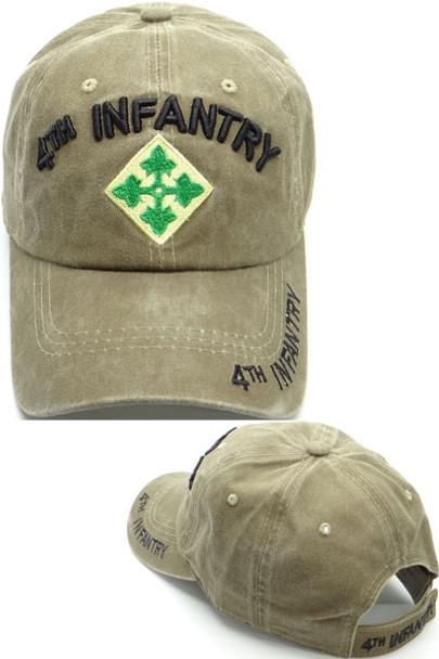 4th Infantry Division Cap - Washed Cotton - Khaki