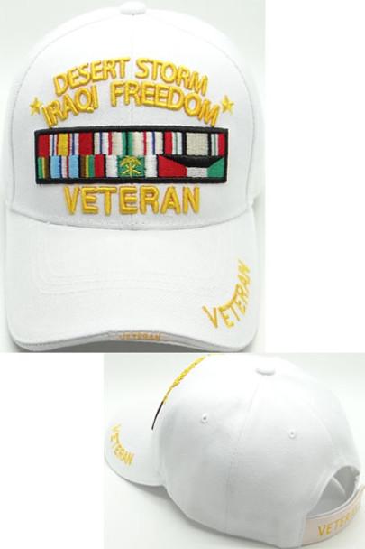 Desert Storm Iraqi Freedom Veteran Cap - White