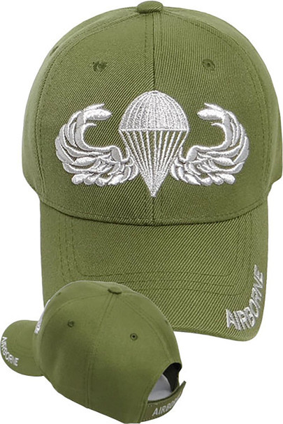Airborne Cap - Silver Parachute Jump Wings - Olive