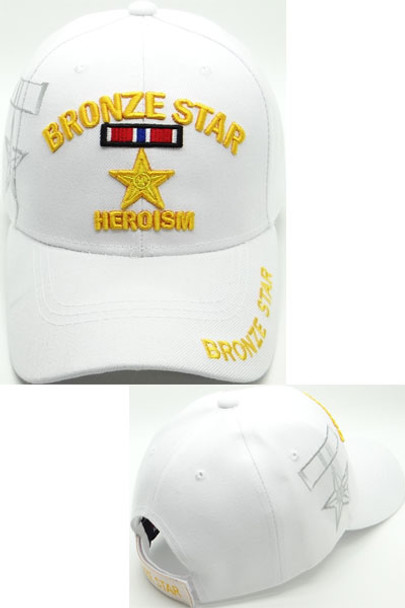 Bronze Star Cap Heroism Shadow - White
