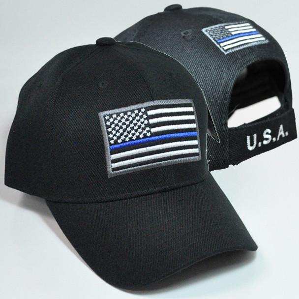 Thin Blue Line Flag Cap - Black