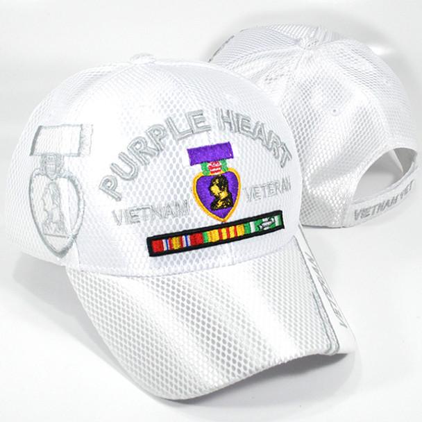 Vietnam Veteran Purple Heart Cap Mesh Shadow - White