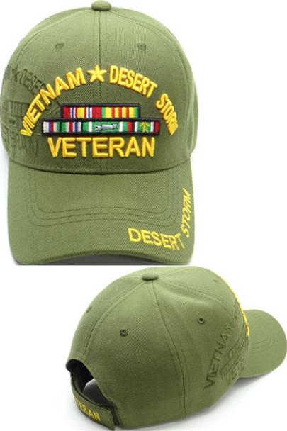 Vietnam Desert Storm Veteran Cap with Ribbons - Olive