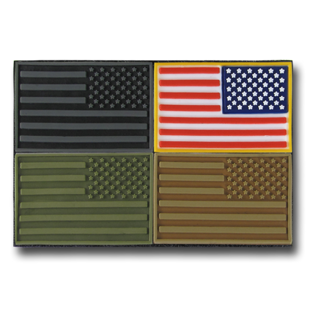 T96 - Tactical Mini Patches - USA Flag Reversed - 4-Pack Multi-Color